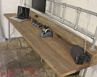 Douglas Reclaimed Scaffolding Board Industrial Style Desk with Built In Storage Section, Overhead Monitor Mounting Rails and Under Shelf