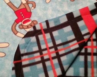 """Sewn Sock Monkey Fleece Blanket 56""""x40"""""""