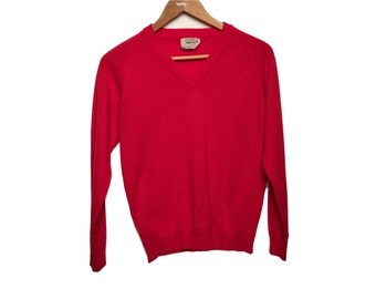 SALE Vintage Red Sweater Russel Acrylic