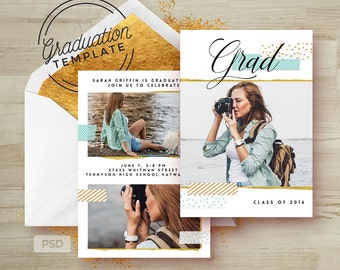 Mint & Gold - Graduation Photoshop Template - Grad Announcement Card Template - Graduation template PSD - Photography Marketing Template
