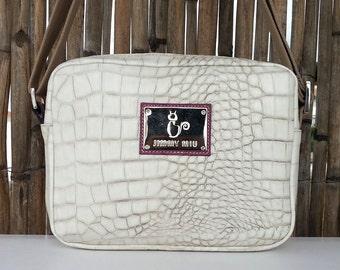 White Leather shoulder bag. Jimmy Miu. Shoulder leather bag women
