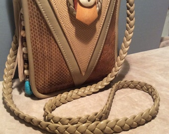 Vintage Crossbody Bag with Turquoise Talisman