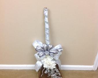 Wedding Broom- White Bling