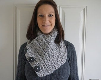 Warm and Cozy Chunky Cowl with 3 Buttons
