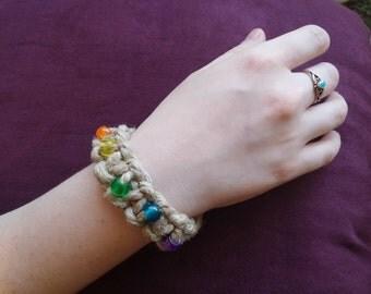 Thick rainbow hemp bracelet