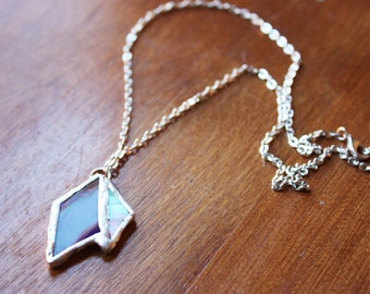 Opalescent and Blue Geometric Stained Glass Necklace Silver