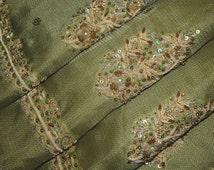 Vintage Sari Pure Tissue Silk Saree Fabric Wrap Decor Craft India Clothing Decor Zardozi/Dabka Work Sarong SG5308 Free Shipping