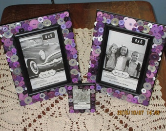 Button Picture Frame/ Purple Buttons/Nursery/ Home Decor