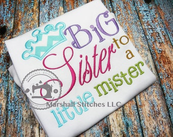 Big Sister Applique Shirt/ Big Sister To A Little Mister Shirt/ New Sister Shirt/ Sibling Shirt