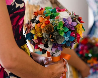 Colorful Paper Bridal Bouquets - Small Attendant Bouquet