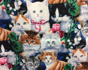 Kittens Fabric / Cute Cuddly Kittens Fabric/ Sold by the Yard/Cotton