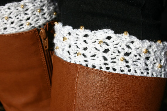 Crochet Boot Cuffs With Lace Pattern : PATTERN Crochet Beaded Lace Boot Cuffs