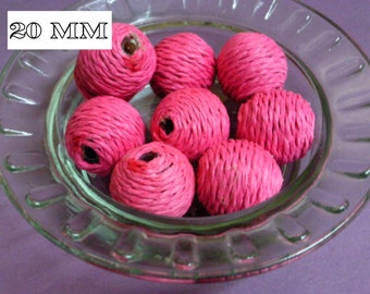 10 Pink 20 mm Twine Covered Beads