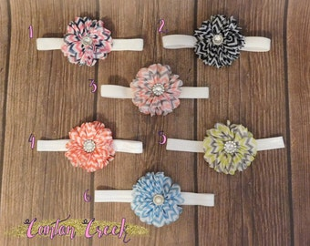 One Chevron Chiffon Flower Foldover Elastic Headband - Complete with Embellishment!