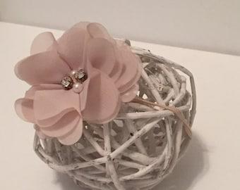 "The ""Ava""Chiffon Flower Headband ( newborn photo prop baby infant child teen childrens girls flower elastic headbands pearls crystals"