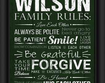 """Personalized Family Rules Green 13""""x16"""" Framed Art Print Inspirational Quotes  Add Your Last Name  Free Shipping"""