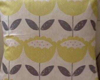 "2 x 16"" Clarke & Clarke Anais Citrus Grey Cream Floral Cushion Covers"