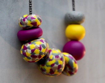 Necklace Polymer Clay Beads Yellow Purple Grey Pattern - Freckles