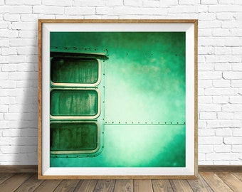 "vintage camper, retro camper, aqua, square wall art, instant download printable art, large art, large wall art, wall art print, art - ""1974"""