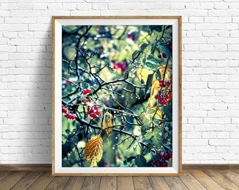 "nature print, instant download printable art, branches, leaves, green, nature photography, large art, large wall art, print -""Drip Drop"""