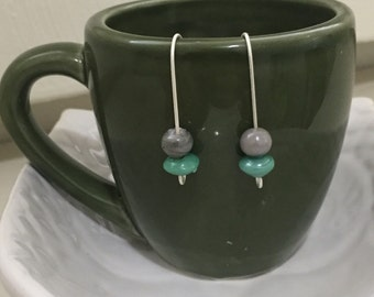 Minimalist Silver and Green Beaded Earrings