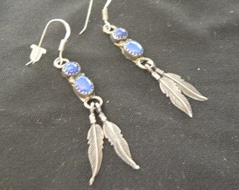 Lapis and silver dangle earrings