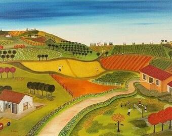 Good Morning A3+ Art Print from Oil Paint Naive Art Folk Art Kids Wall Art Nursery Room Decor Landscape Countryside Village Farm Life