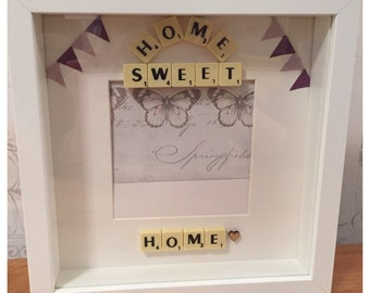 New Home Gift, New Home Photo Frame, Housewarming Gift, Home Sweet Home, Scrabble Frame, Bunting Gift, Couples Gift, Personalised New Home