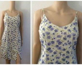 Floral summer dress / Slit summer Dress / Spaghetti Strap Dress / 90s Dress
