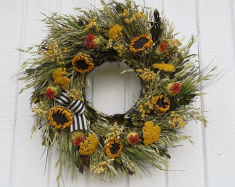 Fall Wreath, Fall Dried Flower Wreath, Dried Flower Wreath, Fall Dried Floral Wreath, Sunflower Wreath, Dried Sunflower Wreath, Wreath