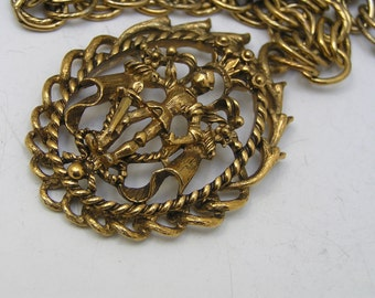 Pendant Necklace  - Warrior Figural - Costume Jewelry