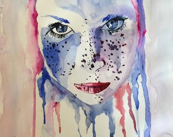 Face in the Water - Portrait watercolor painting