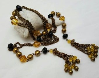 Glass And Brass Chain Lariat