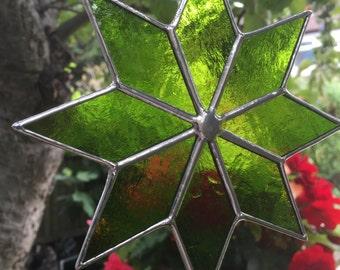 Stained Glass Suncatcher Panel Lime Green Colour Star Glass Art  - CRhodesGlassArt