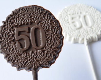 Number 50 Chocolate Pops (12), Candy, 50 Chocolate Birthday Favors, 50 Chocolate, 50 Anniversary Chocolates, 50th Birthday Chocolates, Fifty