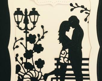 3D wedding card - 3d romantic couple wedding congratulations card - black & white traditionsl wedding congratulation card - intricate card