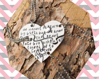 Customize 4 heart puzzle piece necklace aluminum hearts and stainless steel chains cable