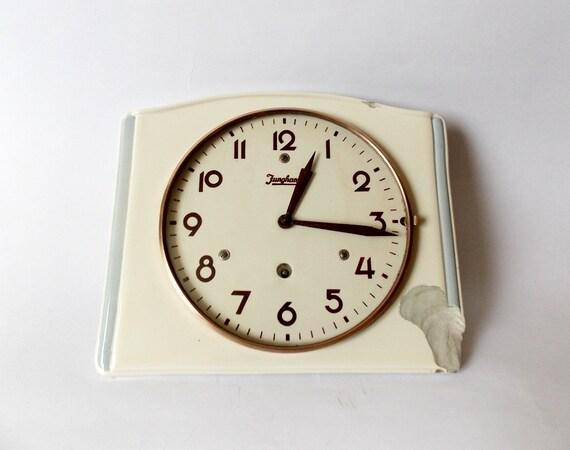 Vintage Art Deco Style 1940s Ceramic Kitchen Wall Clock