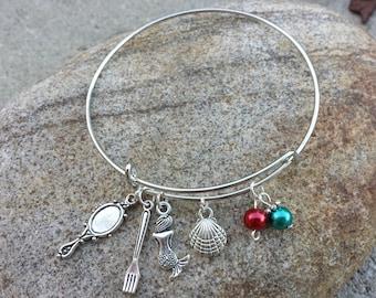 Disney Little Mermaid Adjustable Charm Bracelet / Mermaid Sea Shell