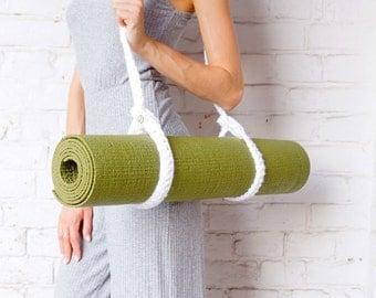 Knitted yoga mat Sling / White Foyo