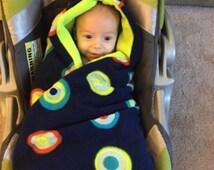 Infant swaddling carseat blanket - infant hooded car seat blanket - fleece carseat blanket - flannel car seat blanket - baby carseat swaddle