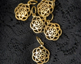 Wholesale 5 pack seed of life charm pendant brass sacred geometry charms pendants beads yoga jewelry for making bracelets necklaces WBP135