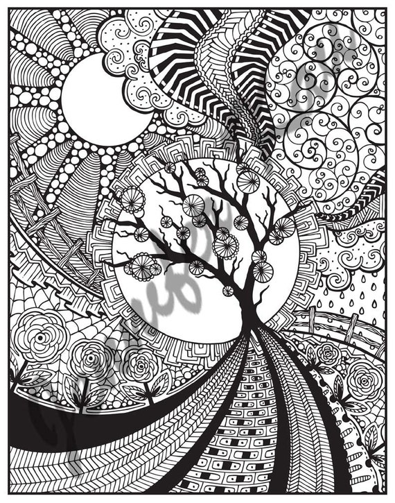 Adult Coloring Page By JenntangledColorBook On Etsy