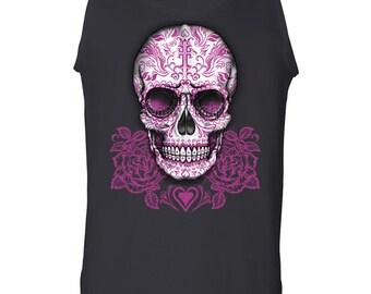 Pink Sugar Skull With Roses Calavera Tank Top Day of The Dead Dia de los Muertos 100492-TT