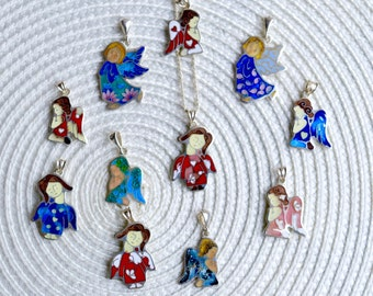 LIttle Angels - Necklace, Silver, Cloisonne enamel