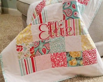 Custom Baby or Toddler Quilt with Personalization