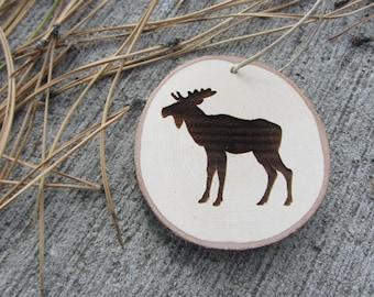 Moose Ornament | Wood Slice Christmas Ornament | Woodland Animal Ornament