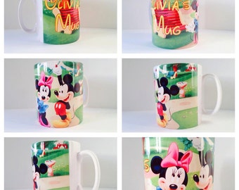 personalised mug cup walk disney land mickey minnie mouse cute gift present love