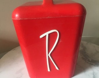 Red Gayware Cannister R Rice retro