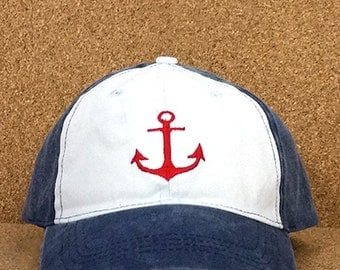WaterGirl Distressed Red Anchor Ball Cap- Distressed Hats- Anchor Ball Caps-  Nautical Hats- The Water Soul
